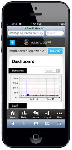Liquid Web Mobile Dashboard