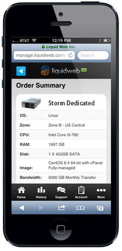 Launch New Servers in Liquid Web Mobile